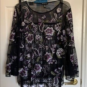 Floral Embroidered Blouse w/ Bell Sleeves